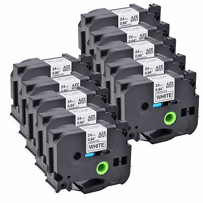 10PK Black on White Label Tape Compatible For Brother TZ TZe-251 P-Touch 24mm*8M