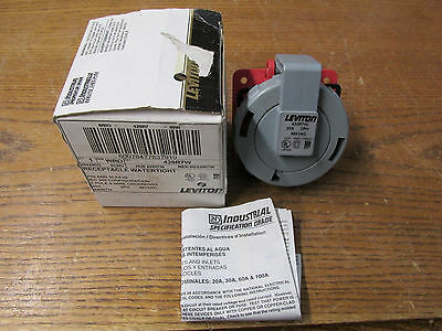 NEW NOS Leviton 420R7W Water Tight Receptacle Pin And Sleeve 20A 480VAC 3PH