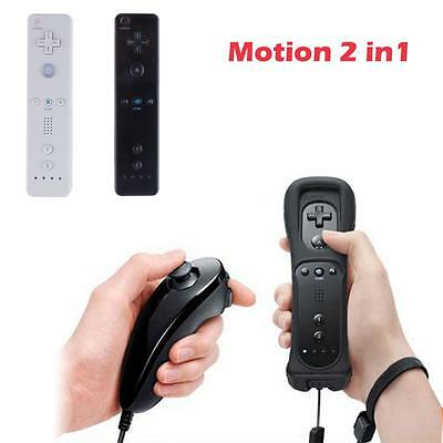 Black Wiimote Built in Motion Plus Inside Remote + Nunchuck Controller For Game