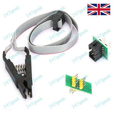 SOIC8 SOP8 Test Clip For EEPROM in-circuit programming cable + 2 adapters - UK