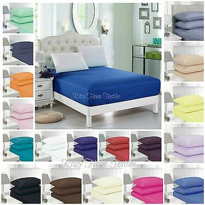 Fitted Sheet Bed Single Double Super King Size Polycotton Mattress Cover Deep