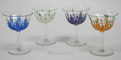 French Set of Four Hand Painted Glasses early 1900's, original design, excellent