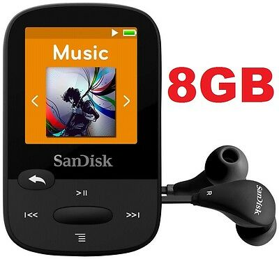 SanDisk Sansa Clip Sport BLACK 8GB Digital Media Player MP3 LCD Radio Micro SD
