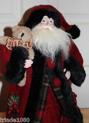 "18""  Father Christmas Santa Claus Figure Black Fur Trimmed Red Wool Cape,Bear"