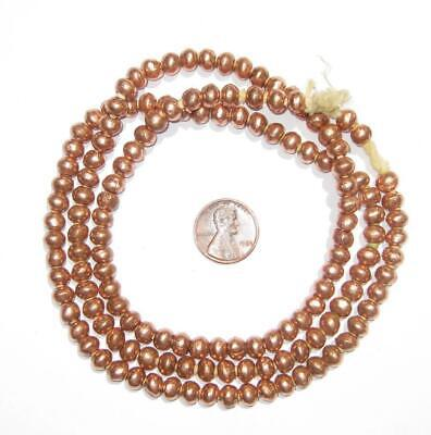 Round Copper Ethiopian Beads 6mm African Large Hole 32 Inch Strand Handmade