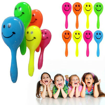 Rattle Maracas Smiley Kids Shaker Shaking Sound Toy Music Pair Party Bag Filler