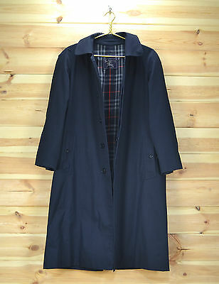 Burberry's Bespoke Long Navy Blue Vintage Prorsum Mac Trench Coat Jacket size 42