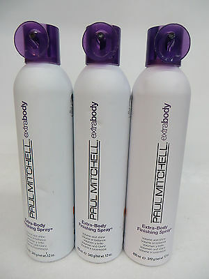 3 PCS! PAUL MITCHELL EXTRA BODY FINISHING SPRAY VOLUME AND SHINE 12 OZ EA