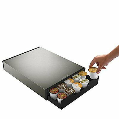 "NEW Mind Reader ""Tinny"" 35 Capacity Metal Coffee Pod Drawer  Silver/Black"
