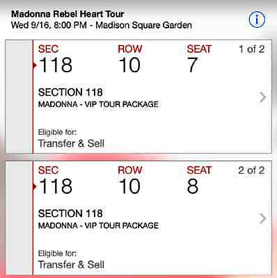 Madonna Rebel Heart Tour VIP Package 2 Tickets sec 118 WED 9/16 MSG NY