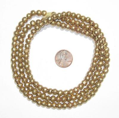 Round Brass Ethiopian Beads 6-7mm African Large Hole 30 Inch Strand Handmade