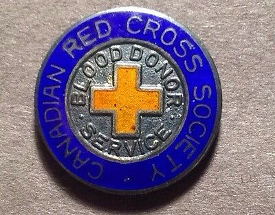 Vintage Canadian Red Cross Society Blood Donor Service Sterling Silver Pin