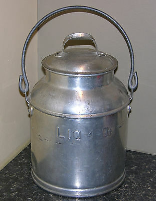 "Antique Vintage 4 Quart Milk Can with Lid/Cover Early 1900's, ""LIQ 4Qt Embossed"""