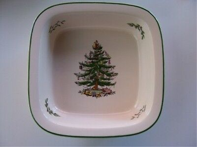 "Spode Christmas Tree Square Rim Dish 10"" New Without Box"