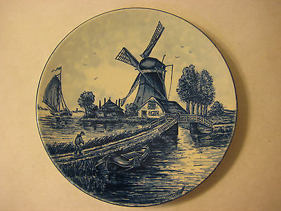 """RARE OLD VINTAGE DELFT BLAUW HANDPAINTED PLATE, MADE IN HOLLAND, 7"""" DIAMETER"""