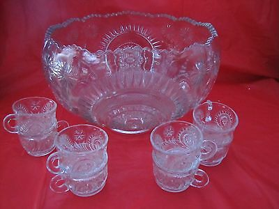 VINTAGE THICK PUNCH BOWL SET, SLEWED HORSESHOE BOWL, 12 CUPS