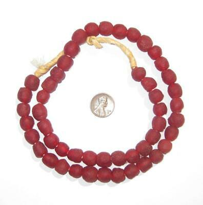 African Recycled Glass Beads - 11mm (Red) Ghana