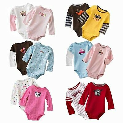 5pcs Baby Boys Girls Long Sleeve Newborn Rompers Jumpsuit Clothing Overall 3-24M