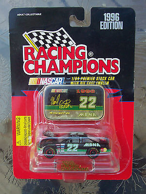 1996 WARD BURTON 1/64 SCALE RACING CHAMPIONS #22 MBNA CAR WITH EMBLEM STAND NIP