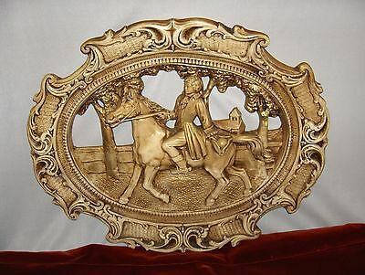 Vintage Hollywood Regency Chalkware Wall Art Plaque 1700's Man & Horse Gold RARE