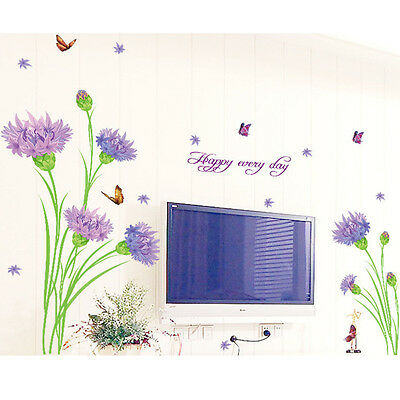 Purple Dandelion Flower Wall Decal Sticker Butterfly Wall Mural Floral Vinyl Art