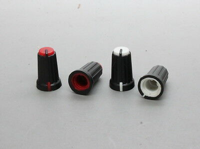 20 x Plastic Control Knob Insert Type 12mmDx19mmH 6mm D Shaft - Red or White