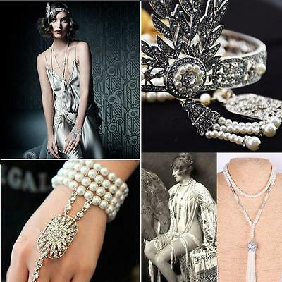 Flapper 1920's Great Gatsby Style Pearl Crown Bracelet Necklace Bridal #G Access