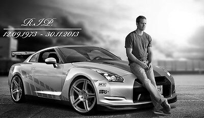 "Paul Walker-The Fast And The Furious Movie Star Fabric poster 40"" x 24"""