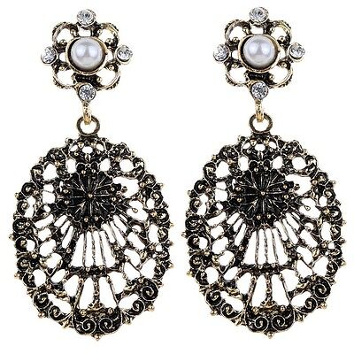 Ethnic Retro Style Flower Round Beads Bronze Alloy Hollow Oval Dangle Earring