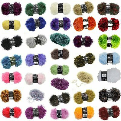 Tinsel Sparkle Eyelash Chunky 50g Wool Yarn Ball Free Scarf Pattern *37 Colours*