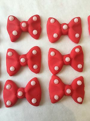 12 Edible Sugarpaste Minnie Mouse Girl Spotty Bows Cupcake Toppers Decorations