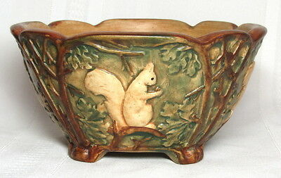 WELLER POTTERY, WOODCRAFT, LARGE SQUIRREL BOWL, FOOTED, VERY NICE~~