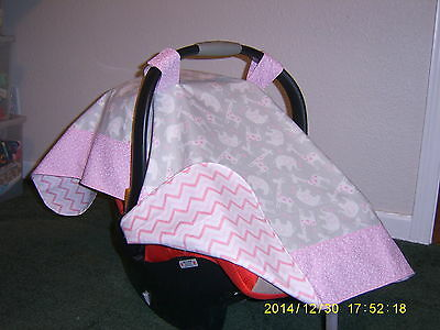 Handmade Baby Infant Car Seat Canopy-Cover So Sweet Elephants & Giraffes