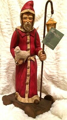 """Bethany Lowe CHRISTMAS Vintage Inspired 19"""" Paper Pulp RED SANTA PULL TOY"""