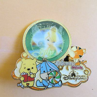 disney honk kong tinker bell  eeyor tigger with winnie the pooh pass holder pin