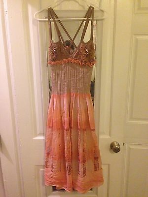 Stunning Save the Queen dress viscose/silk/nylon blend Coral Pink Women's size M