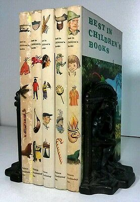 1958~BEST IN CHILDRENS BOOKS~Vintage White 5 Book Lot~Old Decorative Set