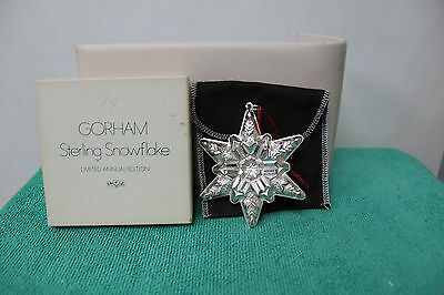1970 Gorham Sterling Silver Snowflake Oranment With Bag & Box