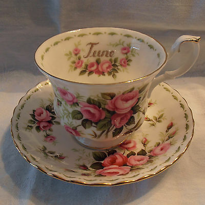 Royal Albert Flower of the Month June Rosebuds Tea Cup and Saucer Set