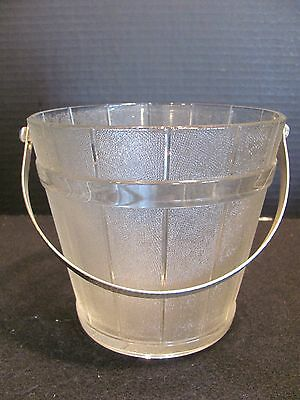 """VINTAGE 5 1/2"""" CLEAR TEXTURED GLASS ICE BUCKET WITH HAMMERED ALUMINUM HANDLE"""