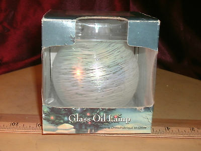 OIL LAMP NIB TRADITIONS HAND BLOWN ROUND GLASS - WHITE PATTERN