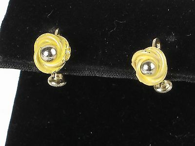 Small estate vintage yellow gold tone earrings painted flowers screw back