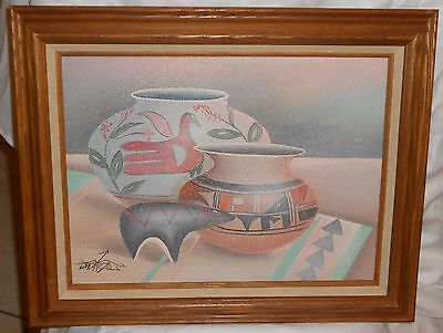 Myung Mario Jung Original Still Art Sand Pottery Oil Painting Framed and Signed