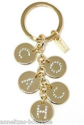 NWT Coach Gold Letters Charm Mix Pave Crystals Key Ring 69939 FREE SHIPPING