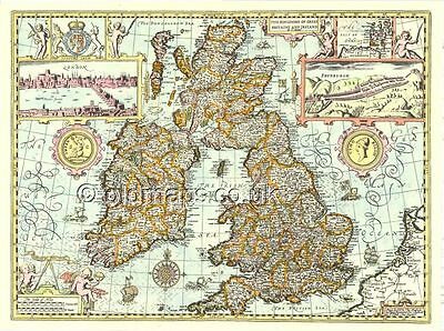 Mounted & Framed Giclée PRINTED Speed map of Old Gt. Britain & Ireland  17c.1610