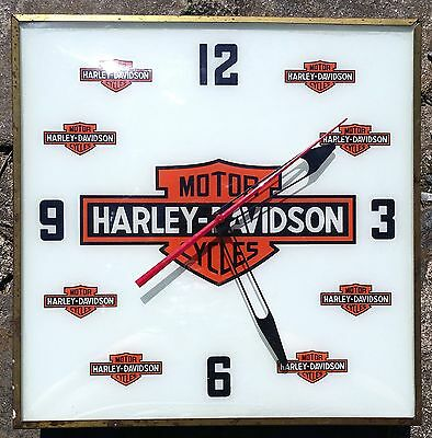 OLD Scarce Square Pam Harley Davidson Clock 1960's American Motorcycle Sign