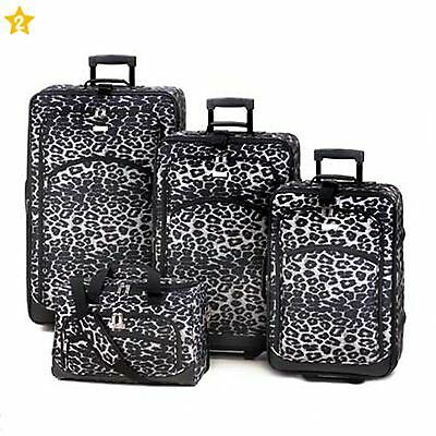 BRAND NEW! Fashionable Wheeled SNOW LEOPARD PRINT LUGGAGE SET 4 Pieces