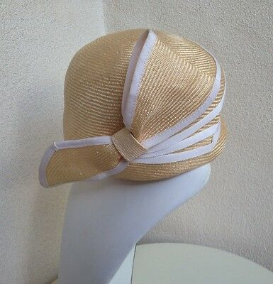 Vintage 1960 Natural Straw Hat Or Cap White Trim Side Bow Sz S/M  1920's Cloche