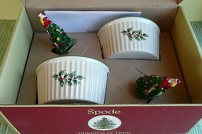Spode Christmas Tree Dipping Set - Ramekins & Spreaders - 4 Pieces ~  New In Box