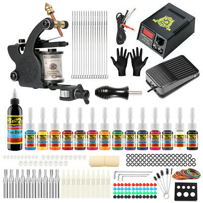 Tätowierung Tattoo Kit Komplett Tattoo Set 14 Inks 1Tattoo maschine  Netzgerät